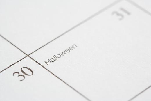 Close up of calendar displaying Halloween. : Stock Photo