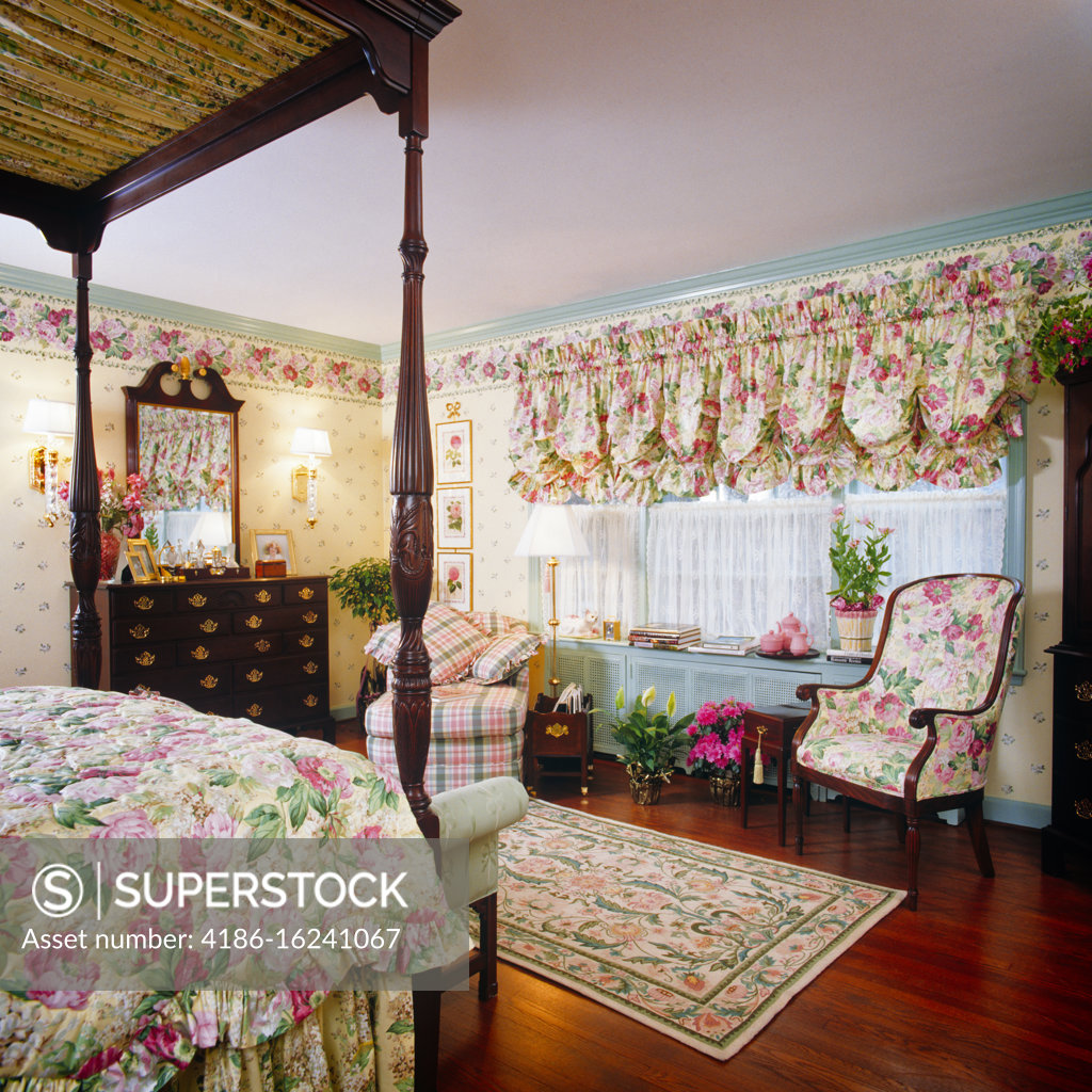 1990s Bedroom Interior Floral Chintz Fabric On Bedspread Wallpaper Border And Curtains Four Poster Canopy Bed Bureau Mirror Stock Photo 4186 16241067 Superstock