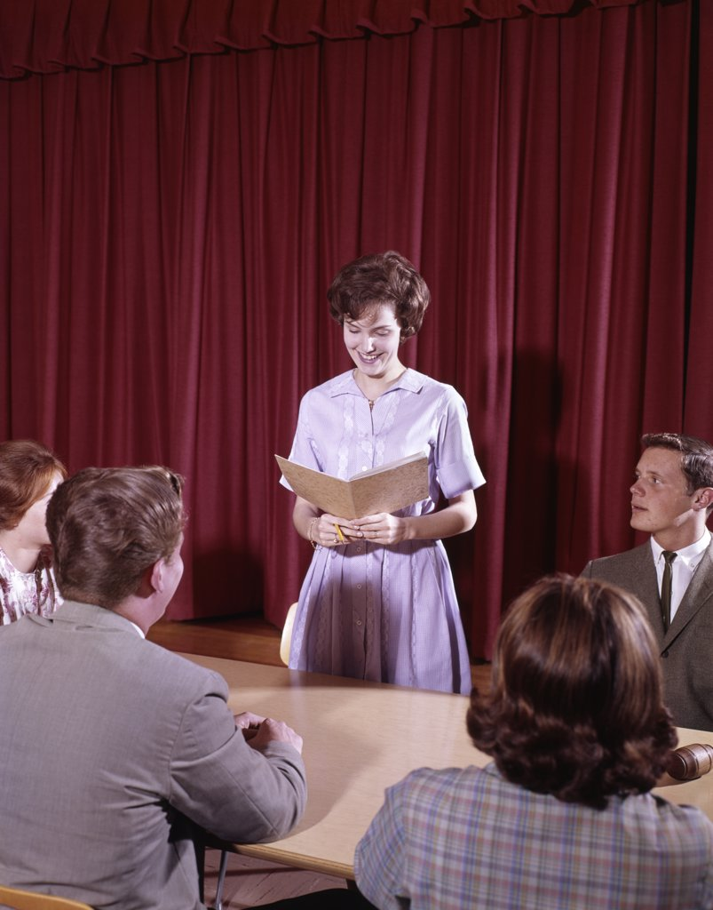 1960S Teen Students At Conference Table : Stock Photo