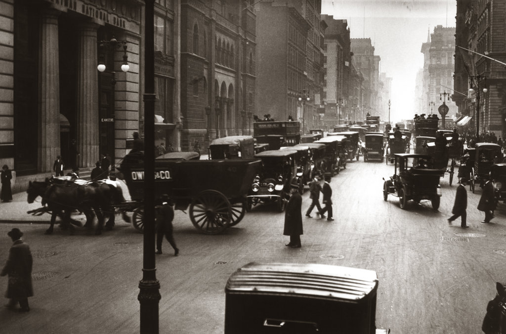 Stock Photo: 4186-13706 1890S 1900S Turn Of Century New York City Street Scene Pedestrians Horse & Wagons Automobiles Cars Traffic Manhattan