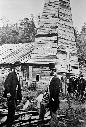 1859 Drake Oil Well Worlds First Drilled Oil Colonel Drake On Right Titusville Pa Drill Derrick : Stock Photo