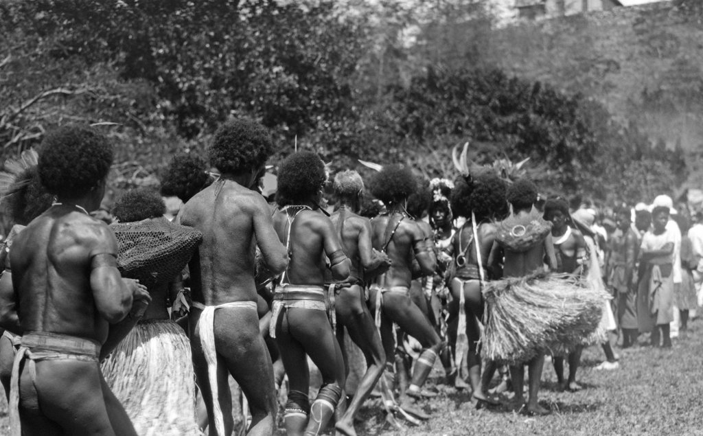 1920S 1930S Group Of Papuan Natives Dancing Port Moresby New Guinea Native Rhythm Dance : Stock Photo