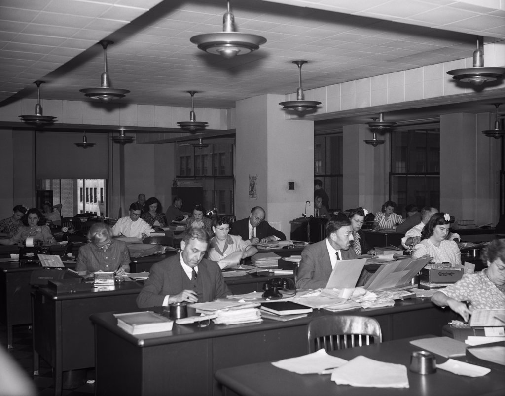 Stock Photo: 4186-14510 1930S 1940S Interior Business Office Men Women Desks Accounting Department General Headquarters