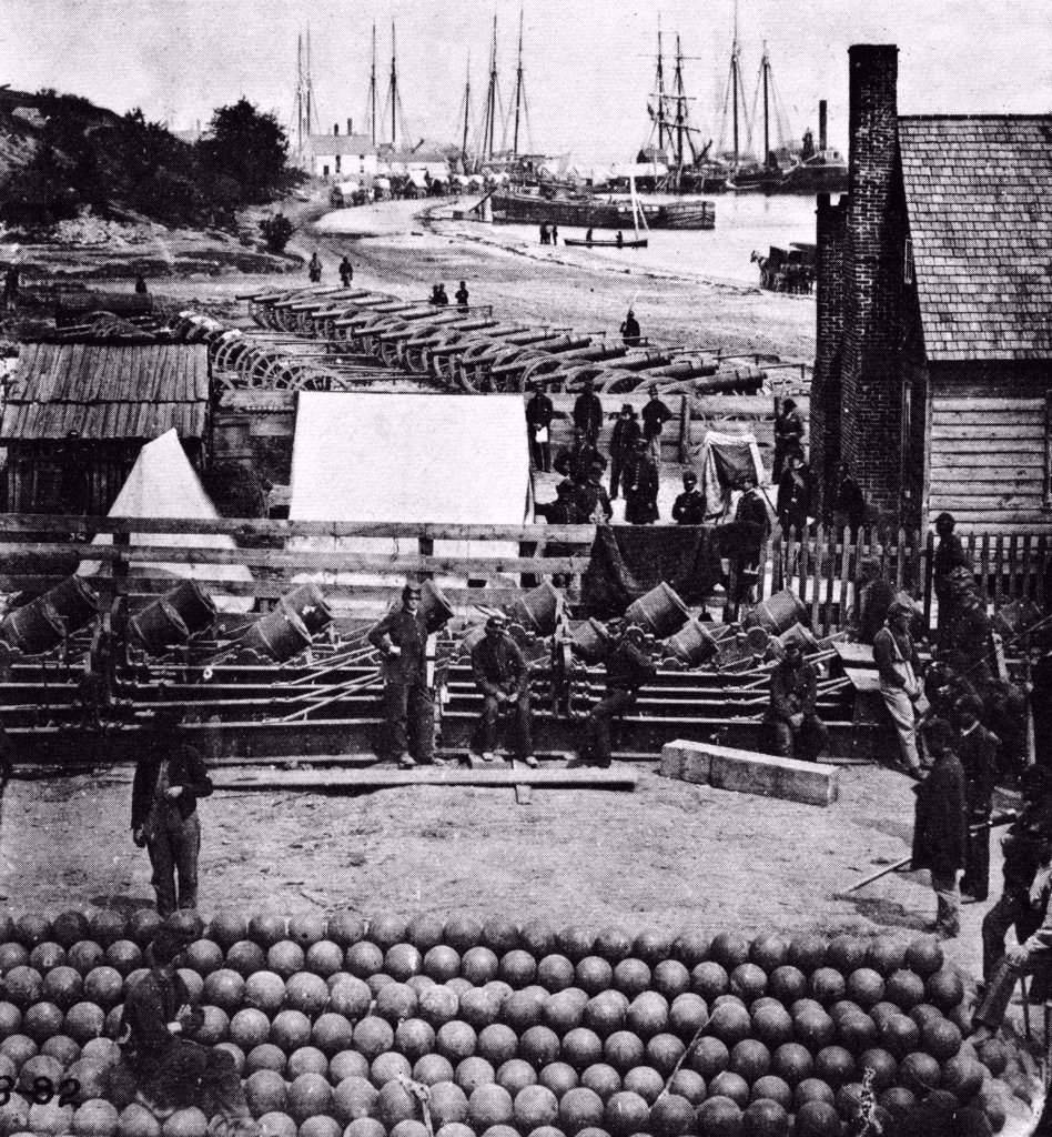 1860S 1800S June 1865 Mathew Brady Photo Of Ulysses S Grant'S Union Supply Depot City Point Virginia : Stock Photo