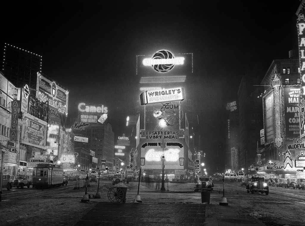 1935 Nyc Times Square Lighted At Night Broadway'S Great White Way : Stock Photo