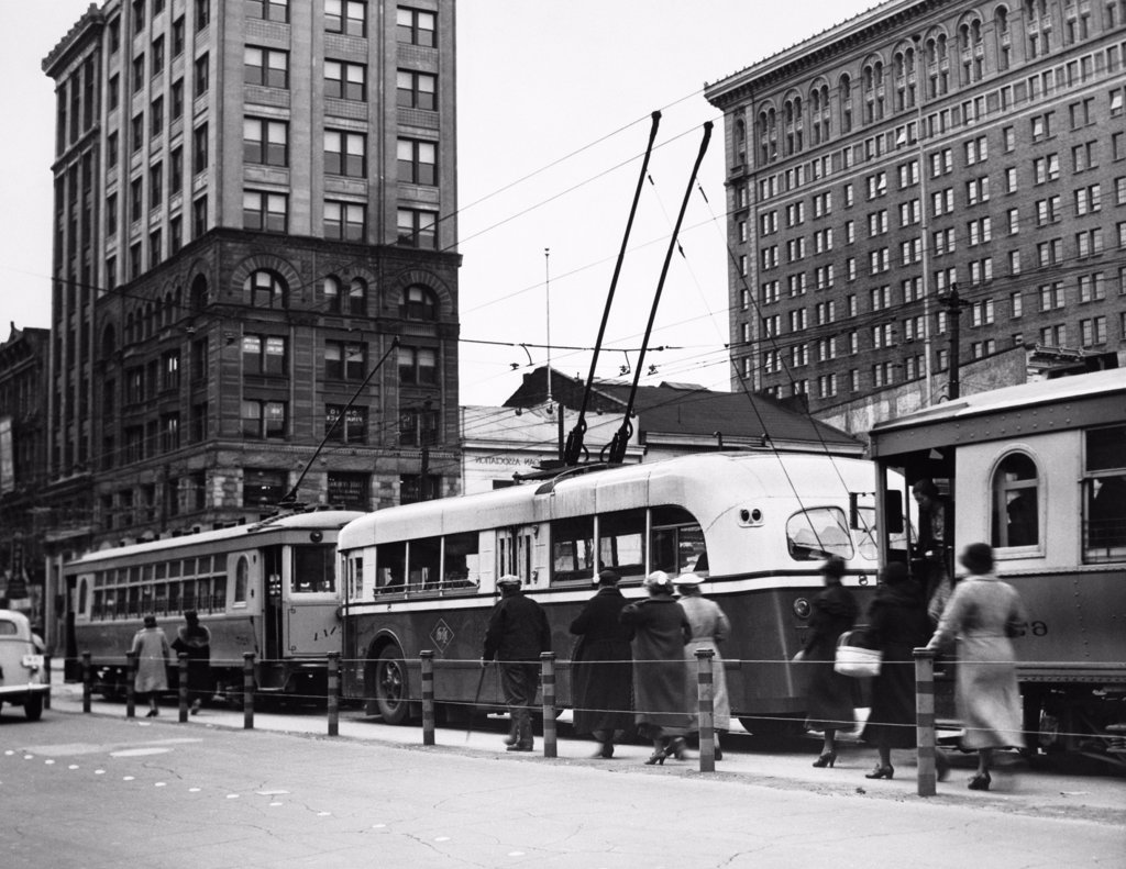 Stock Photo: 4186-14898 1930S 1940S Line Modern Trolley Bus Cars Men Women Commuters City Transportation Dayton Ohio