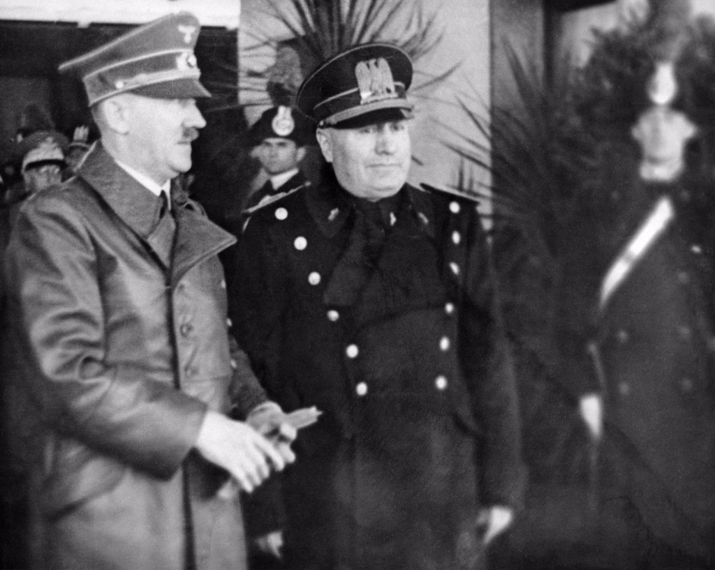 May 1939 Adolph Hitler And Benito Mussolini During Hitler'S Visit To Italy : Stock Photo