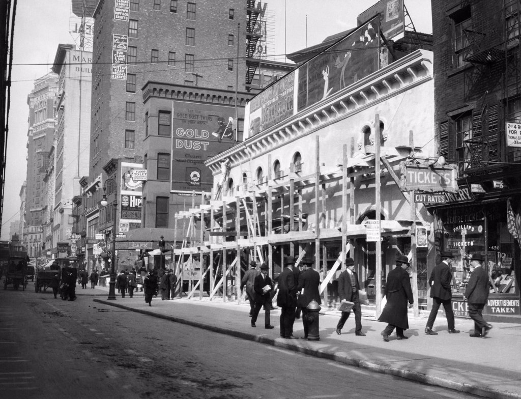 Stock Photo: 4186-14929 1915 1916 New York City Haymarket Theater Becomes Movie House End Of The Tenderloin 6Th Avenue And 30Th Street