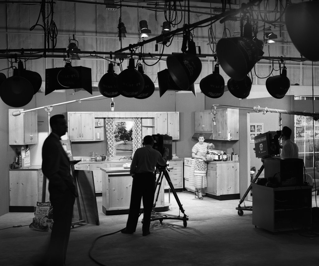 Stock Photo: 4186-15309 1950S Behind The Scenes Of Filming A Cooking Show