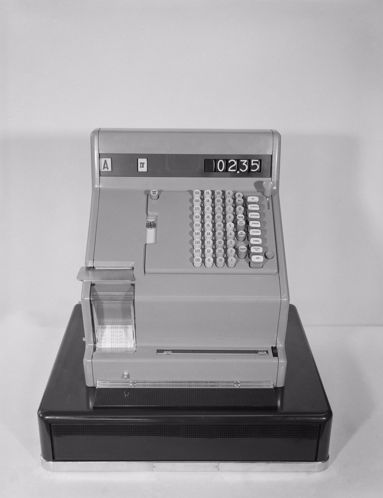 Stock Photo: 4186-15717 1960S Cash Register With 2.35 Amount Of Sale