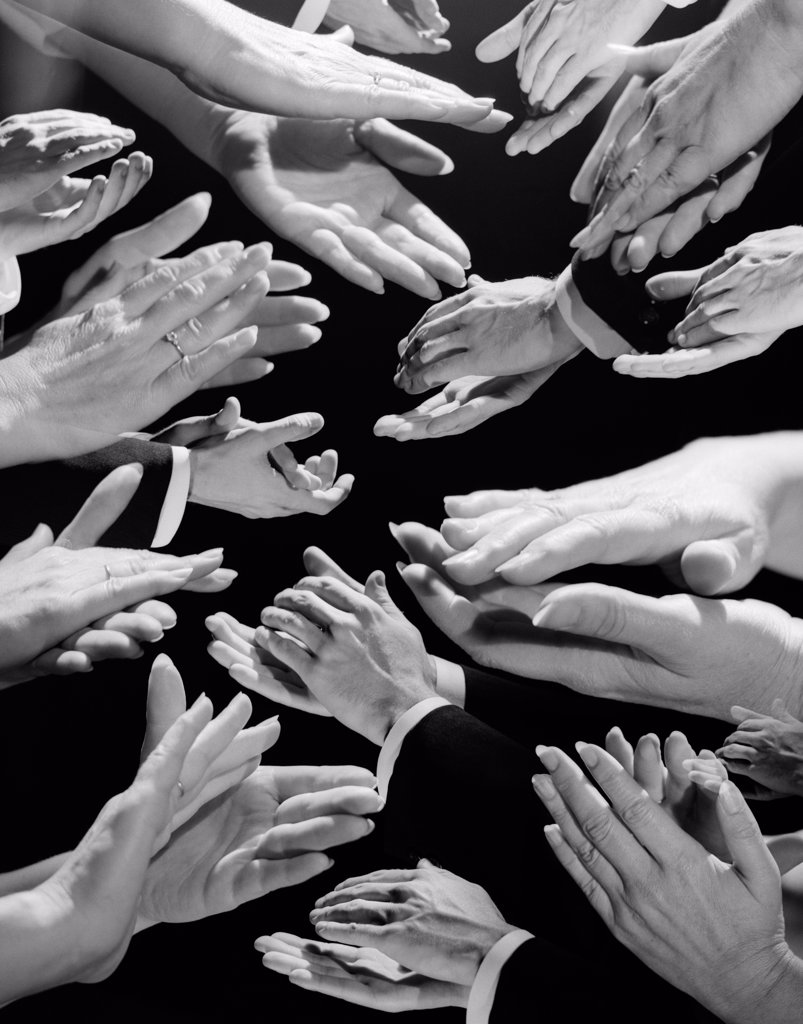 Stock Photo: 4186-15756 1950S Montage Of Many Man And Woman Hands Clapping
