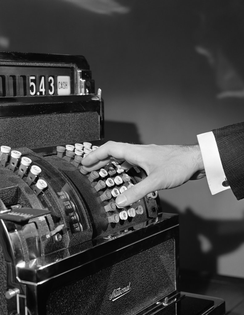 1930S Man'S Hand Pushing Price Buttons On Cash Register : Stock Photo