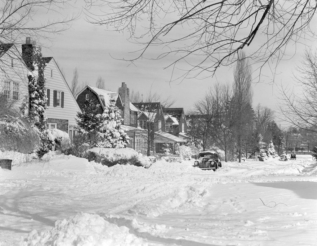 1940S Suburban Winter Scenic Street Houses And Cars Covered In Snow : Stock Photo