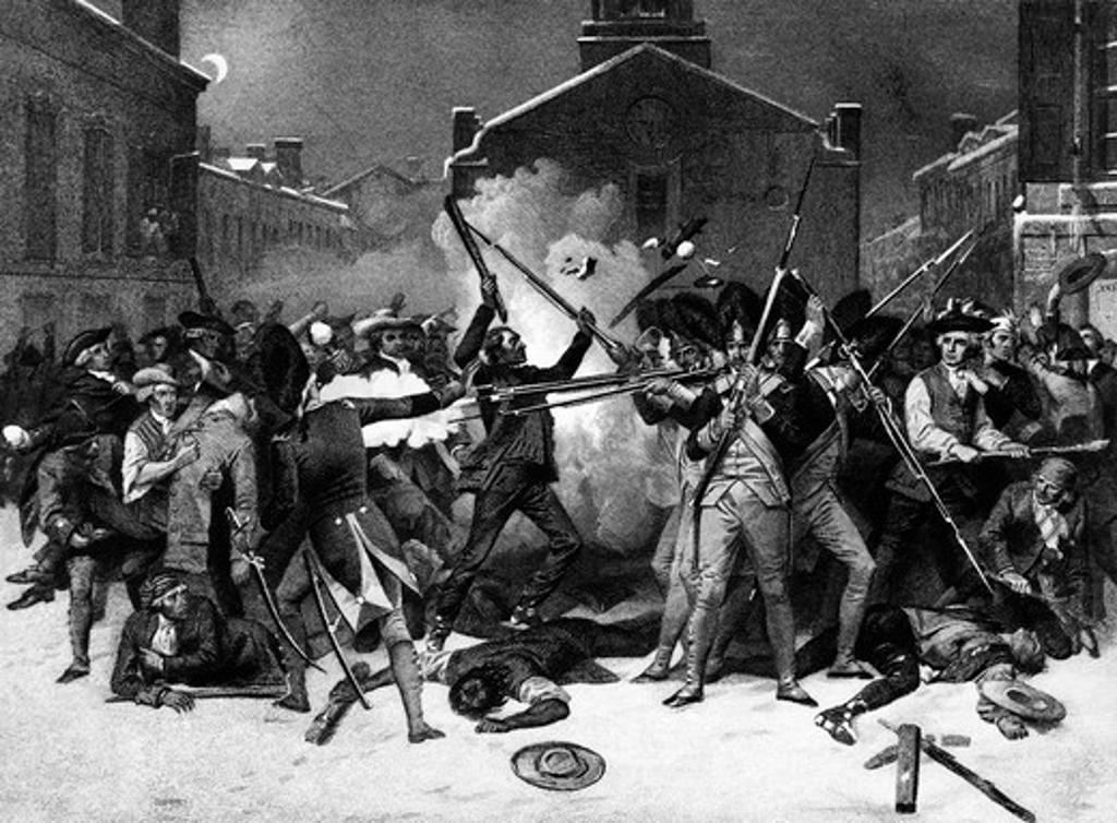 Engraving Of Boston Massacre March 5 1770 American Revolution : Stock Photo