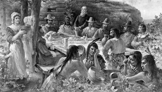 Stock Photo: 4186-17196 The First Thanksgiving December 13 1621 Pilgrims Sharing Harvest Meal With Native American Indians Plymouth Colony Ma
