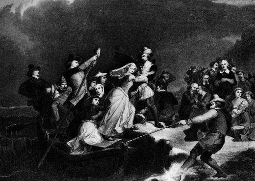 Painting Landing Of The Pilgrims By Rothermel Woman Stepping Ashore Helped By Man Pilgrim 1620 Plymouth Colony : Stock Photo