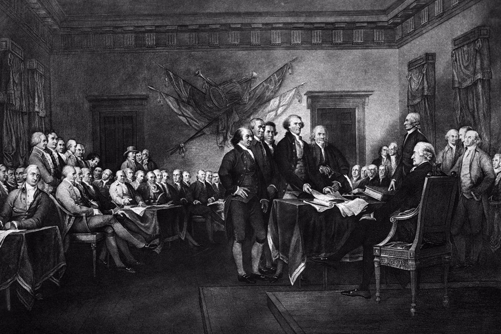 Stock Photo: 4186-17212 John Trumbull'S Rendering Of The Signing Of The Declaration Of Independence