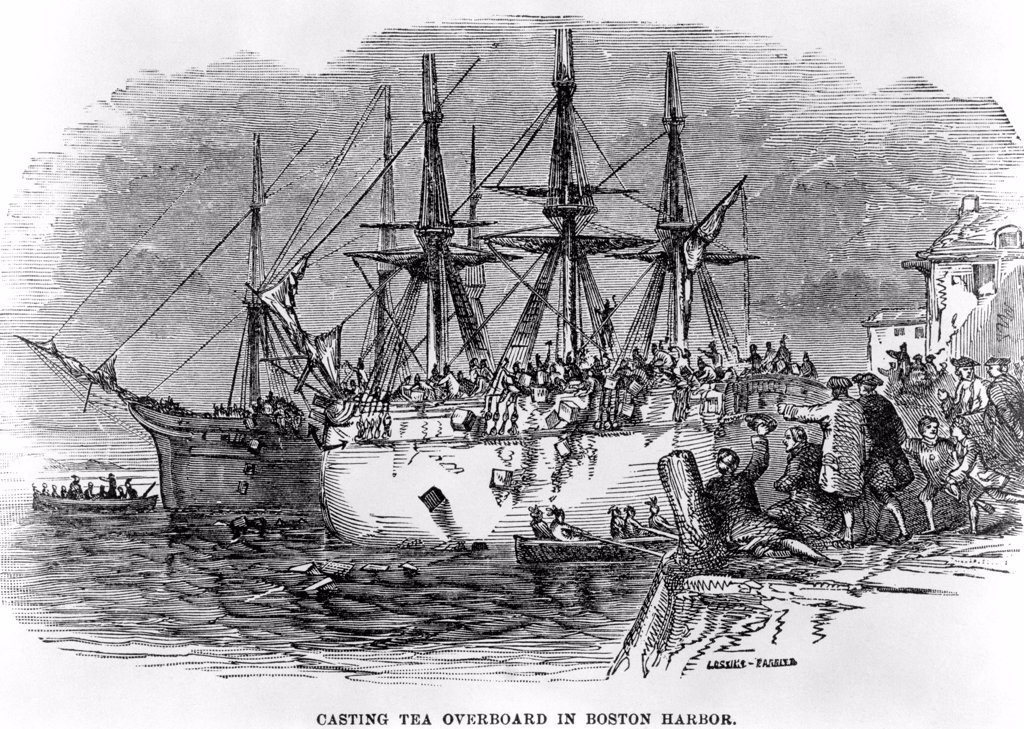 Stock Photo: 4186-17214 1700S December 1773 Engraving Of Boston Tea Party Sons Of Liberty Dressed As Indians Throw Tea Overboard As Protest Against Tax