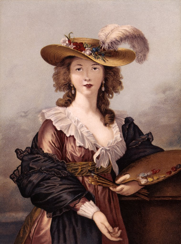 Stock Photo: 4186-17231 Self Portrait Of Brunin 18Th Century Woman Hold Artist Palette & Brushes Fashion Beauty Large Hat Plume