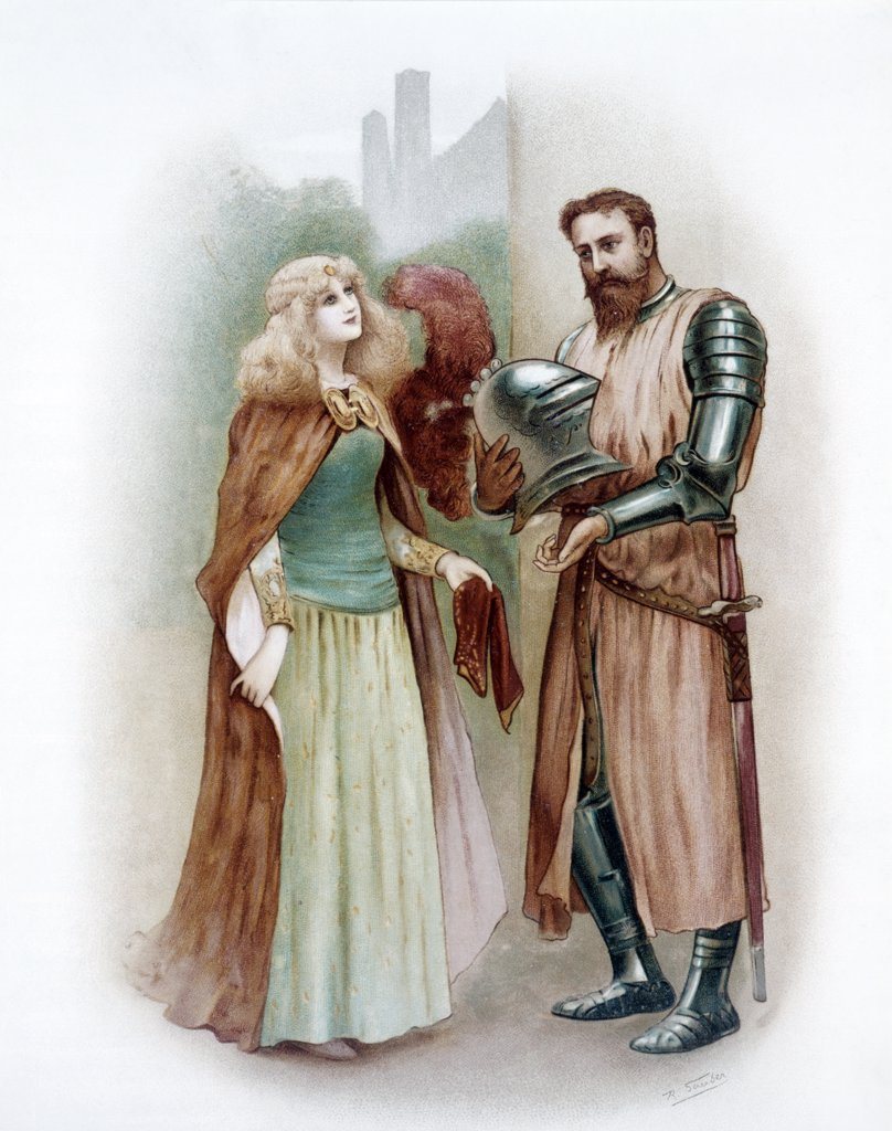 Stock Photo: 4186-17244 Color Illustration Of Medieval Knight Lancelot And Lady Elaine