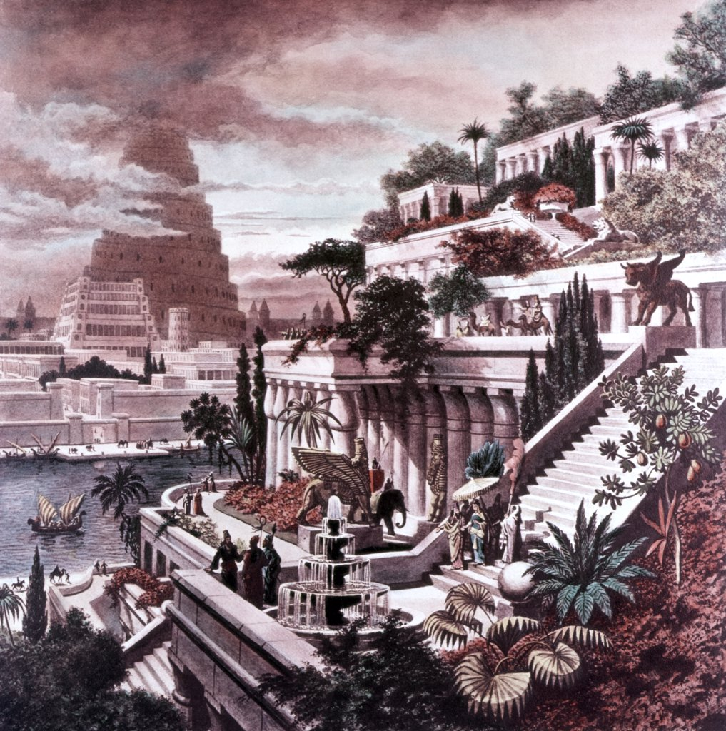 Hanging Gardens Babylon Seven Wonders Ancient World Painting Engraving By Martin Heemskerck Tower Of Babel In Background : Stock Photo
