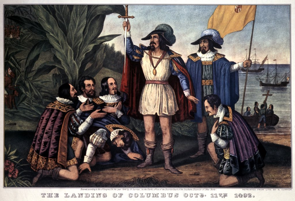 Landing Of Christopher Columbus 1492 Currier & Ives Print - 1846 : Stock Photo