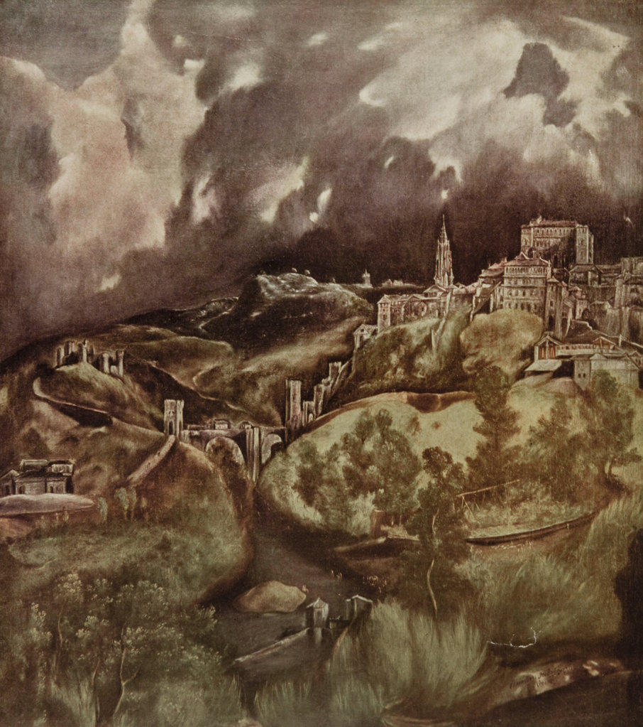 Stock Photo: 4186-17293 1500S View Of Toledo Spain By Spanish Artist El Greco Domenico Theotocopuli