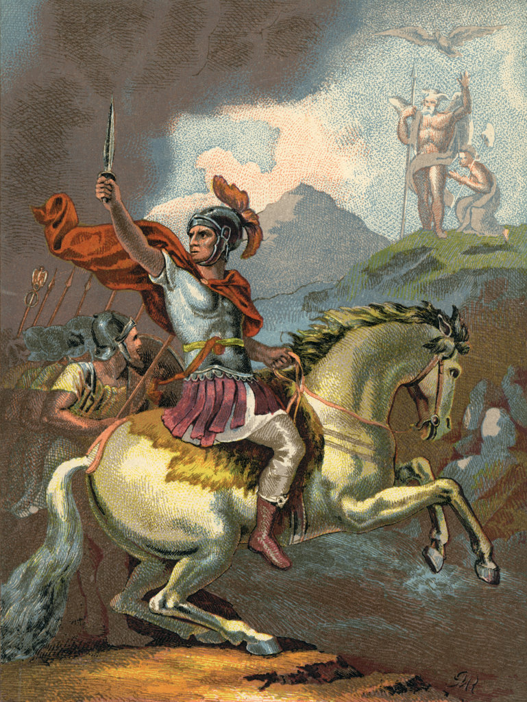 Stock Photo: 4186-17299 49 B.C. Roman Julius Caesar Cesar Leads His Troops From Horseback Across The Rubicon River