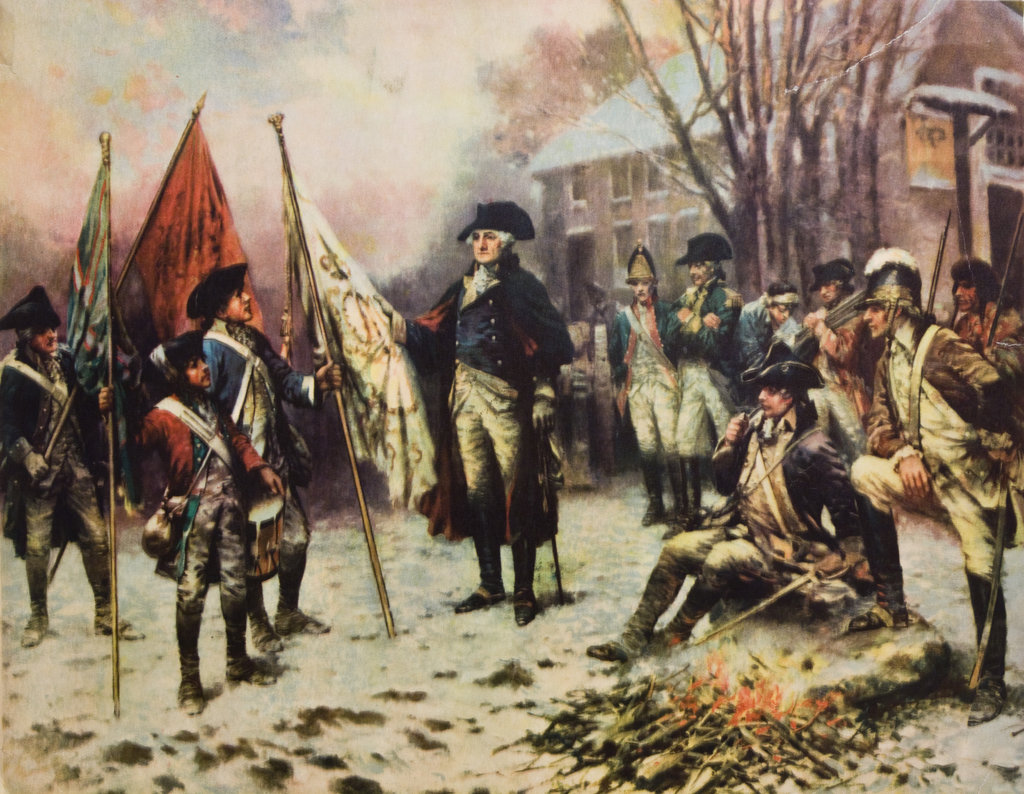 Stock Photo: 4186-17311 1700S 1770S Painting Of George Washington Winter At Valley Forge With Soldiers Around Him American Revolution