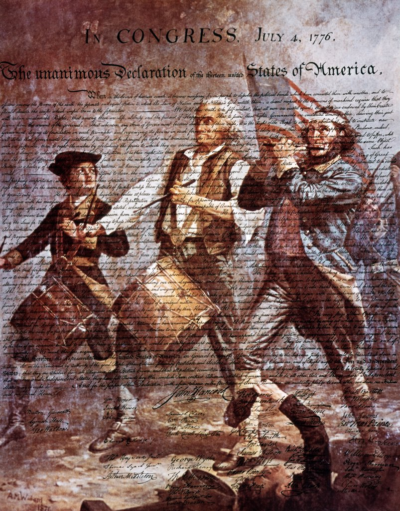 Montage Of Painting By Archibald M. Willard Of Spirit Of '76 And The Declaration Of Independence : Stock Photo