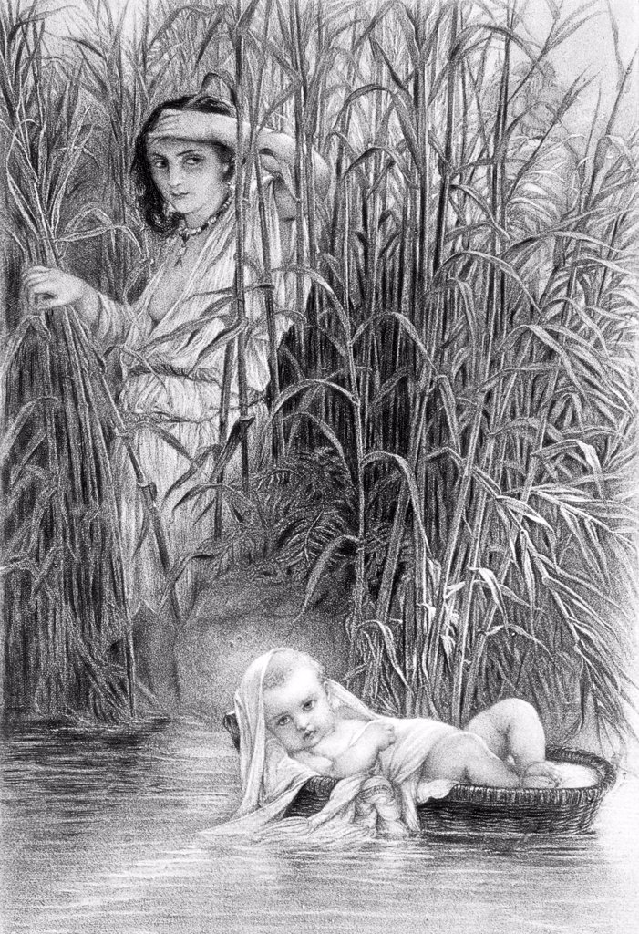 Baby Moses In The Bullrushes Vintage Engraving : Stock Photo