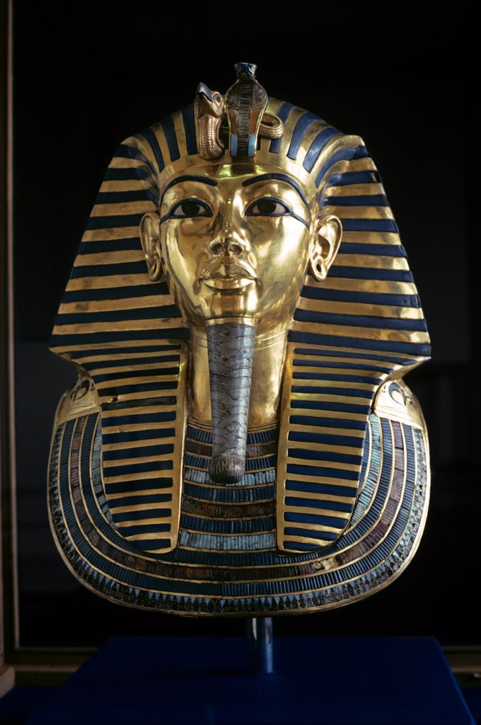 Stock Photo: 4186-17343 Golden Mask Of King Tutankhamen Pharaoh Egyptian Museum Cairo Egypt