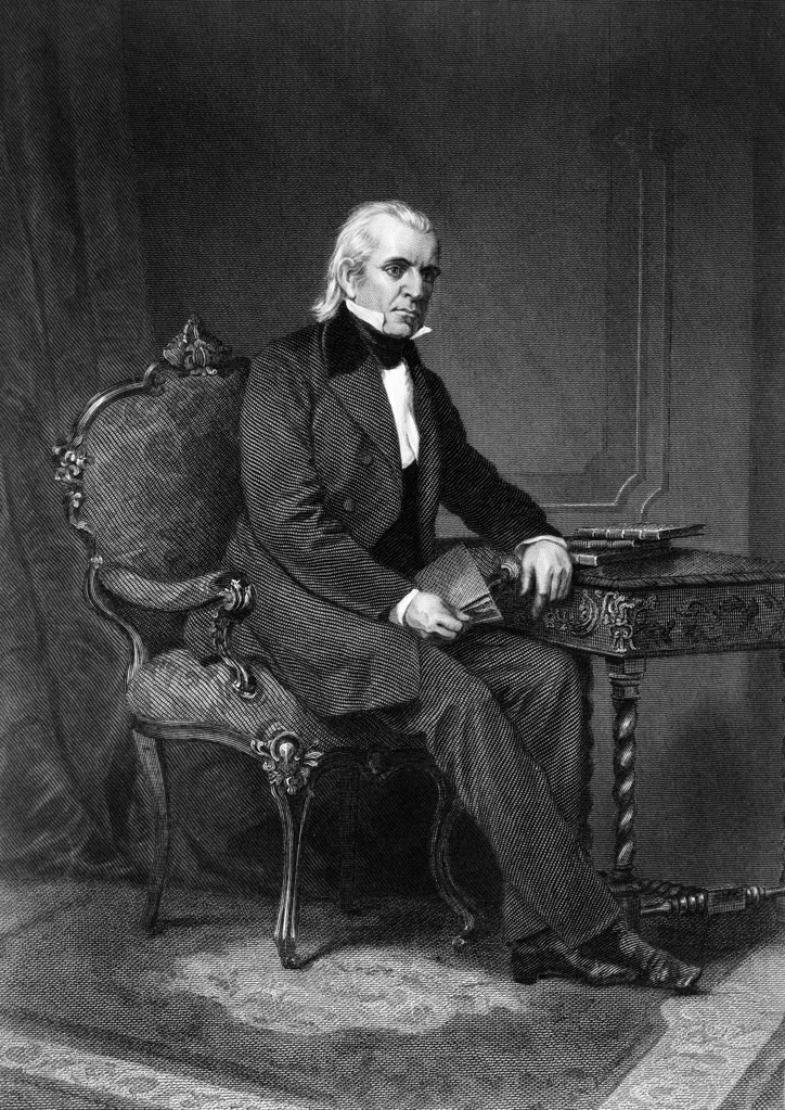 1800S 1840S Portrait Engraving Of James Polk 11Th American President : Stock Photo