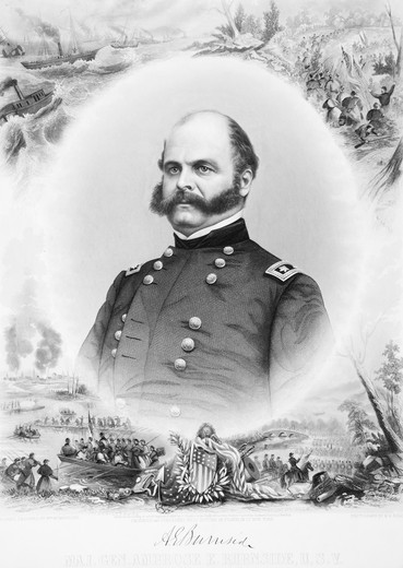 1800S 1860S Portrait Major General Ambrose E Burnside Union Army Style Of Facial Hair Sideburns : Stock Photo