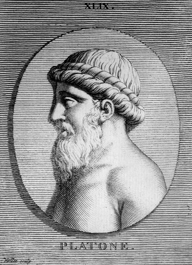 Engraving Bust Of Plato Ancient Greek Philosopher 360Bc : Stock Photo