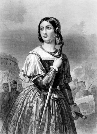1400S 1430S Joan Of Arc Maid Of Orleans Military Leader Heroine Holding Sword : Stock Photo