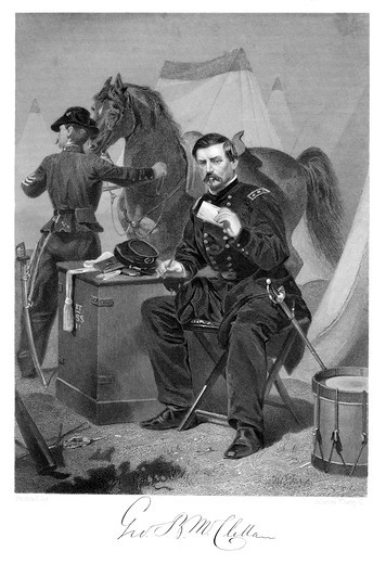 Stock Photo: 4186-17397 1800S 1865S General George Brinton Mcclellan Union Army During The American Civil War