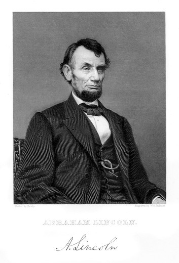 Stock Photo: 4186-17427 1800S 1860S 1865 Portrait Of Abraham Lincoln From A Photo By Brady With Lincoln Signature