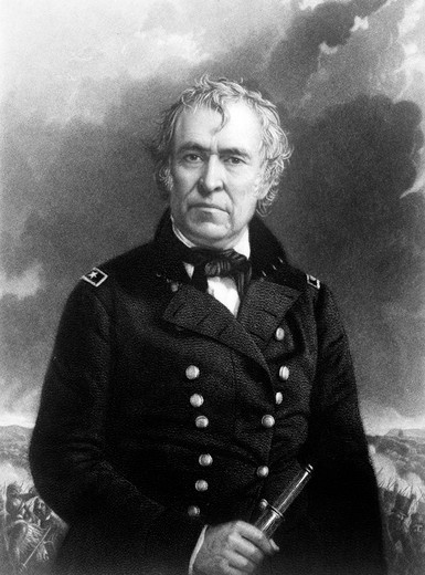 1800S Portrait Zachary Taylor In Military Uniform 12Th American President : Stock Photo