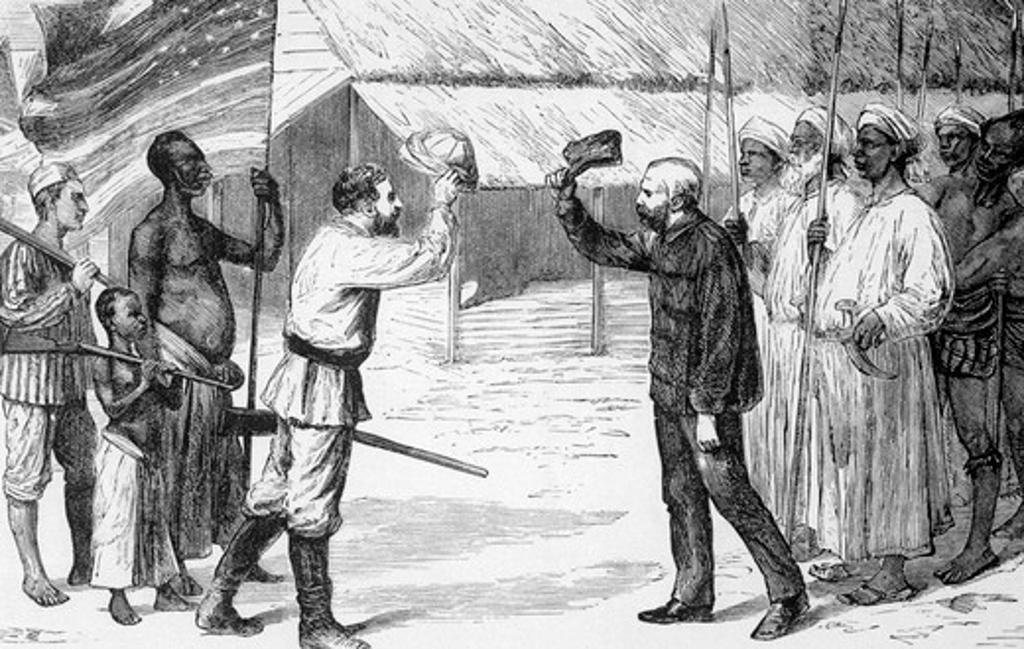 "Stock Photo: 4186-17460 I800S 1870S ""Doctor Livingstone, I Presume"" Newspaper Man Correspondent Henry M. Stanley Greets Missionary David Livingston November 1871 Ujiji Lake Tanganyika Africa"