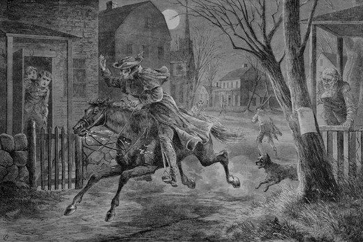 Stock Photo: 4186-17462 1770S Midnight Ride Of Paul Revere April 19, 1775