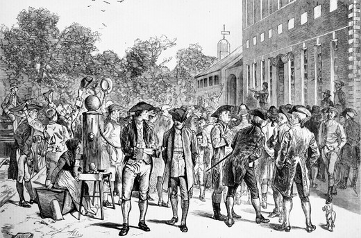 1770S July 8 1776 Reading Declaration Of Independence By John Nixon Steps Of Independence Hall Philadelphia Pa Illustration By Edwin Abbey : Stock Photo