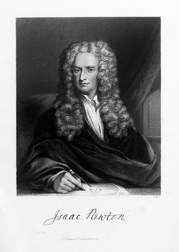 Drawing Portrait Sir Isaac Newton English Mathematician Scientist : Stock Photo