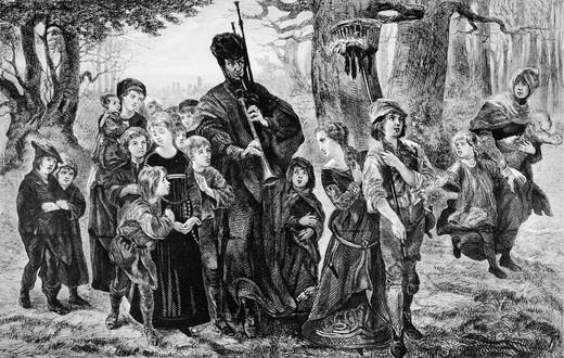1300S Drawing Of Pied Piper Of Hamelin Leading Children Through Forest German Myth Legend Poem By Robert Browning Music Hypnotized Follow Rats : Stock Photo