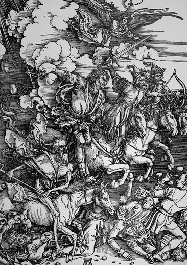 Stock Photo: 4186-17505 1400S Famous Albrecht Durer Woodcut Four Horsemen Of Apocalypse Circa 1498 Death Famine War Plague Revelations 6 1