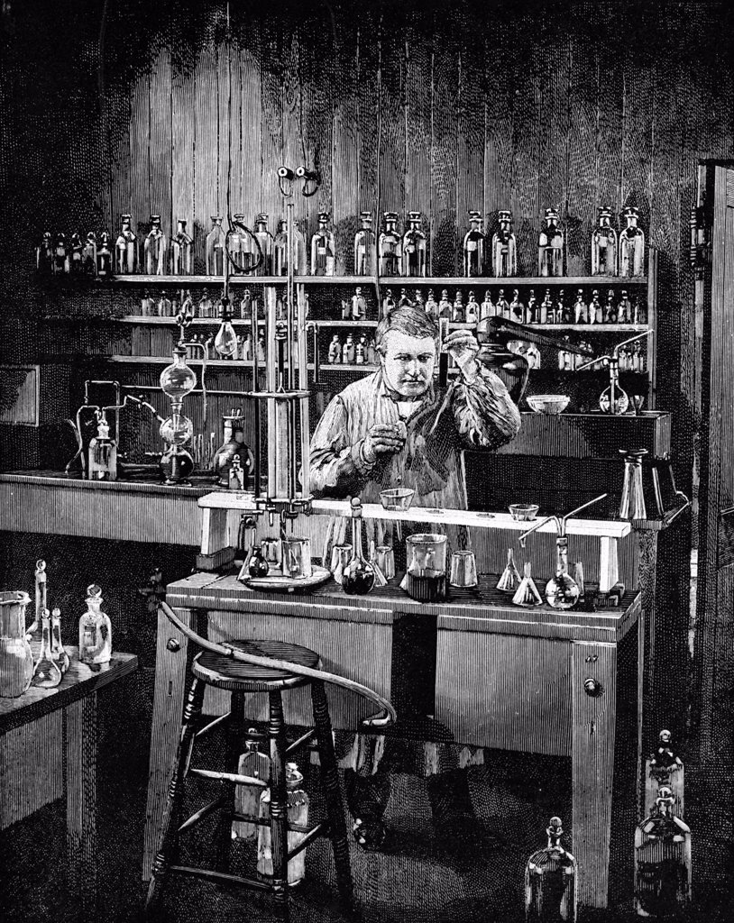 Stock Photo: 4186-17509 Drawing Genius Inventor Thomas A. Edison At Work In His Laboratory In Menlo Park New Jersey Usa