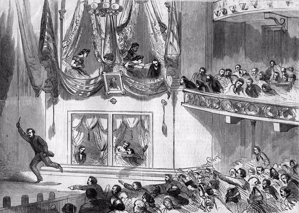 Stock Photo: 4186-17511 1800S 1860S April 15 1865 Assassination Of President Lincoln At Ford'S Theater John Wilkes Booth Running Across Stage Shouting Sic Semper Tyrannis