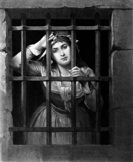 Stock Photo: 4186-17514 1700S Charlotte Corday At Prison Bars Assassinated Jean Paul Marat In 1793