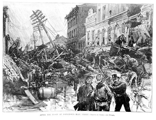 Stock Photo: 4186-17534 Illustration May 31 1889 Two Guards Stop Man From Entering Johnstown Pa Main Street Ruins After The Flood Disaster