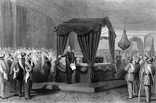 Stock Photo: 4186-17540 1800S 1860S April 1865 Funeral Rites For President Abraham Lincoln Coffin Lying In A Catafalque In The East Room Of The White House